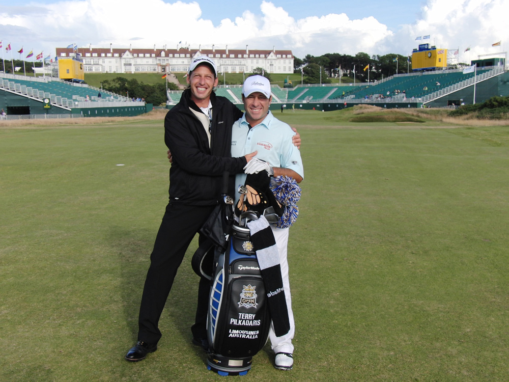 Terry Pilkadaris mit Coach Christian Neumaier - The Open 2009 Turnberry